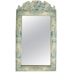 """Vintage Hand-Painted Chinoiserie Beveled Wall Mirror, """"Homecoming"""", circa 1950"""