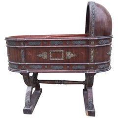 Unusual Antique French Bronze Inlaid Louis Baby Crib