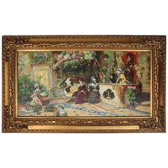 Monumental Vintage Oil on Canvas by E. Alexander, Hotelier Parlor Scene