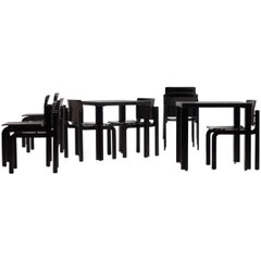 Set of Ten Black Ash Danish Dining Chairs by Fritz Hansen