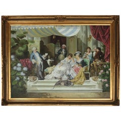 Monumental Vintage English Signed Oil on Canvas Painting, Gathering