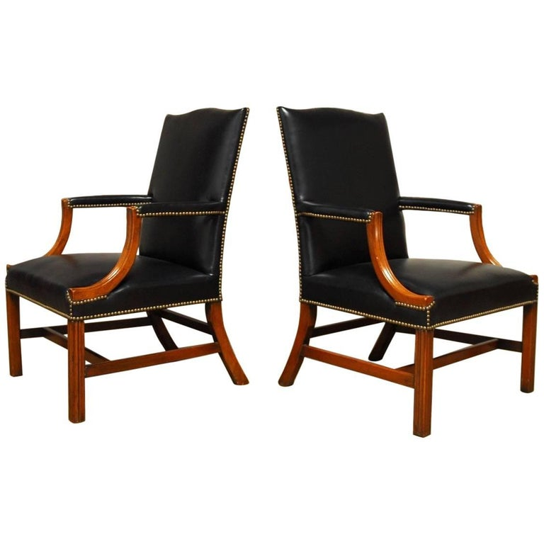 Famous pair of black leather mahogany gainsborough library for Famous chairs