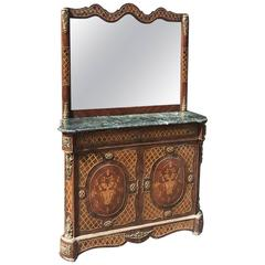 French Antique Inlaid Buffet and Mirror Sideboard
