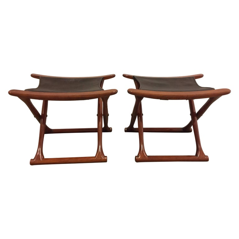 Pair of Rosewood Egyptian Folding Stools, Ole Wanscher Style