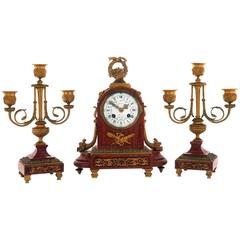 Early 20th Century Griotte Marble Clock Garniture