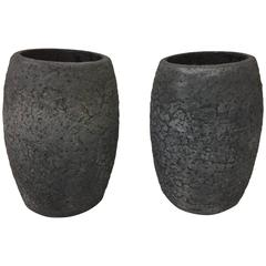 Pair of Crucibles in Volcanic Stone Textured Finish