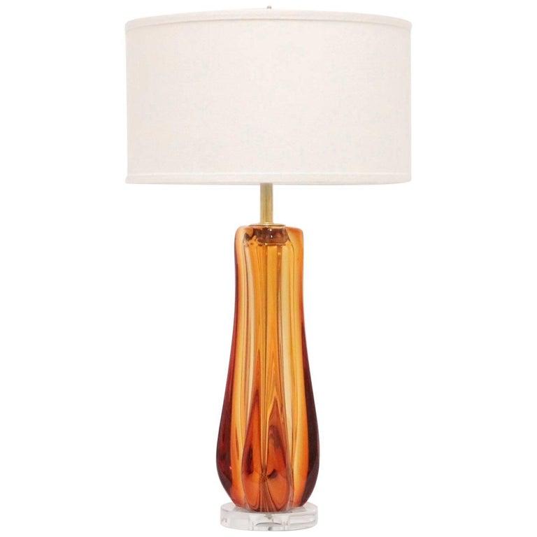 Mid-Century Modern Murano Glass Lamp by Galliano Ferro For Sale
