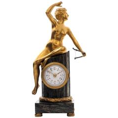 Early 20th Century Miniature Clock Featuring Diana the Huntress