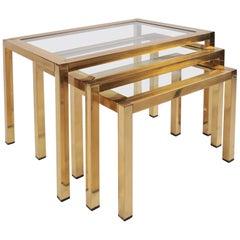 1950s Italian Brass Nest of Tables