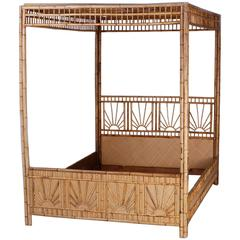 Mid-Century Queen-Size Bamboo and Grasscloth Canopy Bed