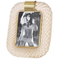 Venini Torcigione Murano Glass Photo Frame with Gold Inclusions