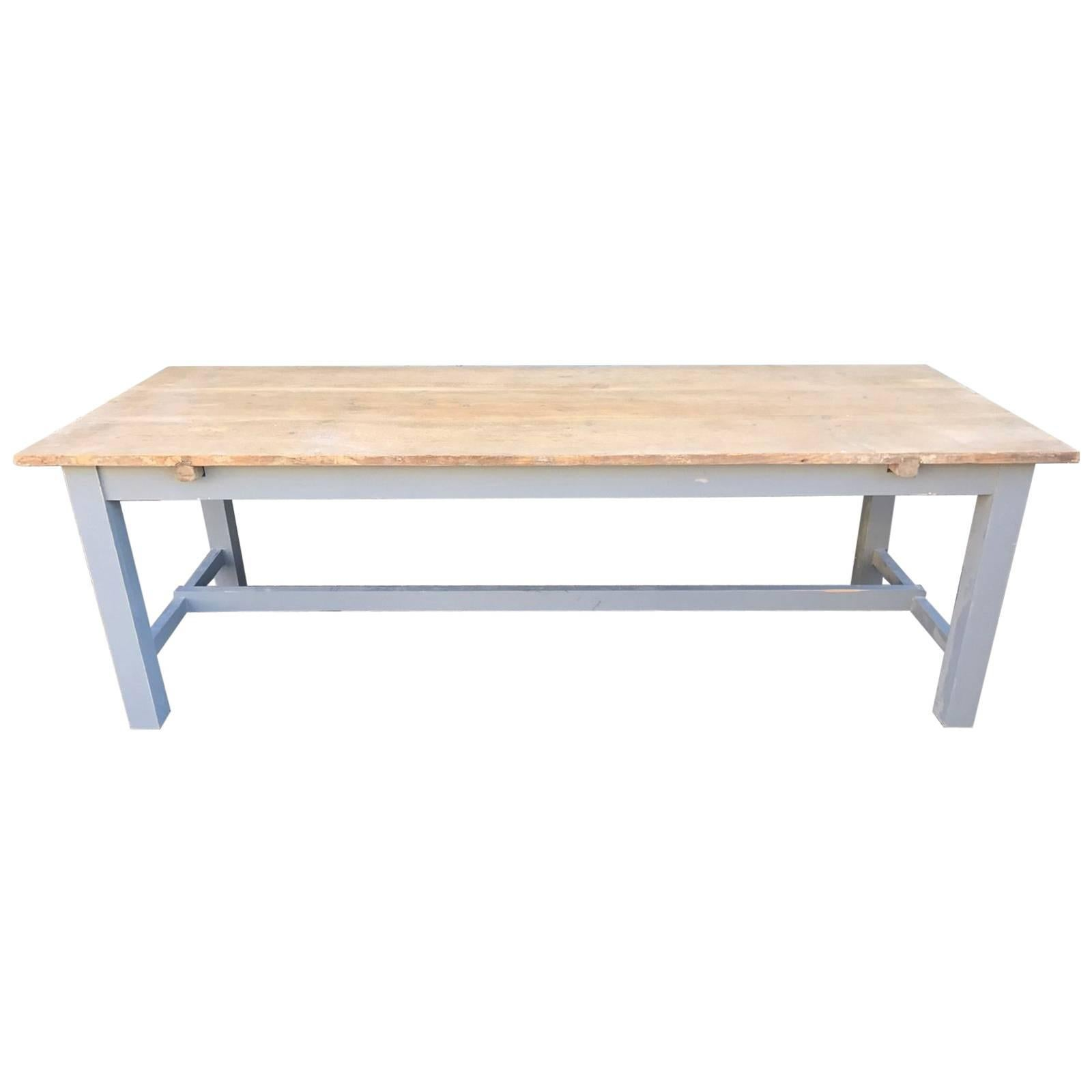Long Antique Oak French Farm Table With Original Paint 1