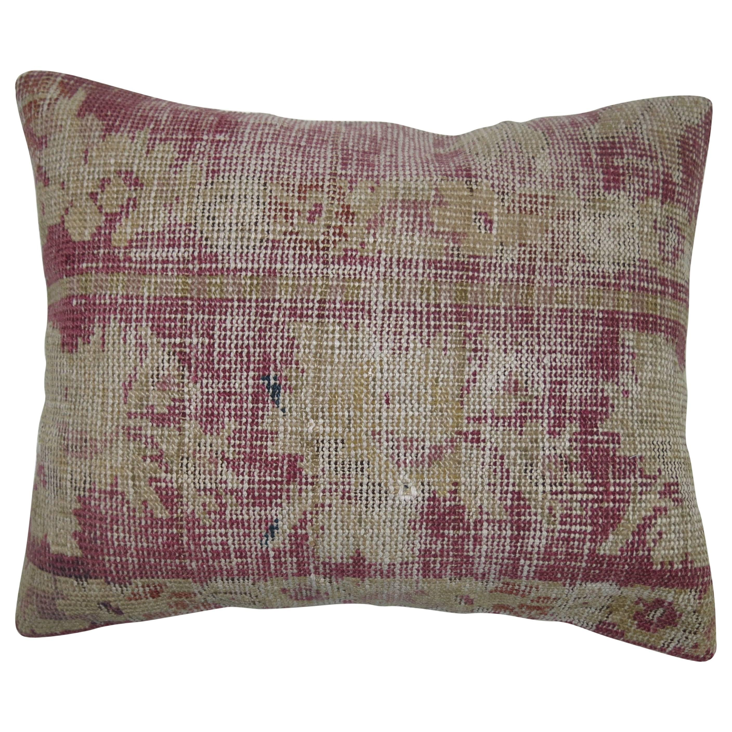 Distressed Pillow from a 19th Century Turkish Rug