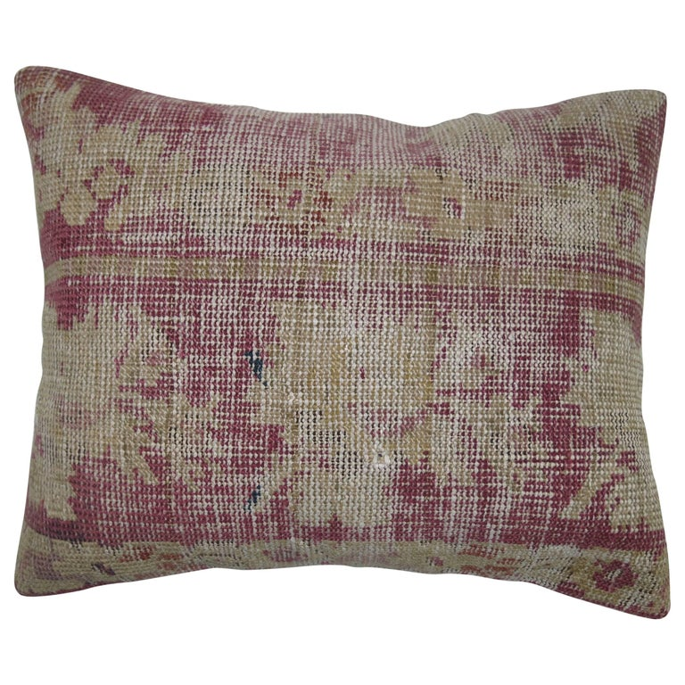 Distressed Pillow from a 19th Century Turkish Rug For Sale