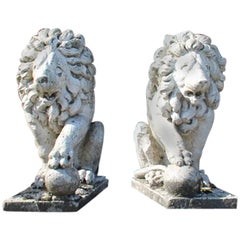 Pair of 19th Century French Limestone Lions