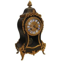 19th Century French Boulle and Brass Inlay Mantel Clock