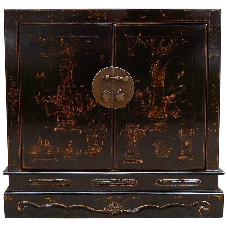 Fine Black Lacquer Chest with Gilt Motif For Sale