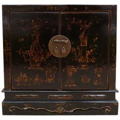 Fine Black Lacquer Chest with Gilt Motif