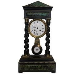 Mid-19th Century French Timber Portico Clock by Eugene Williez