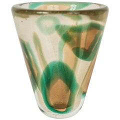 "Achimede Seguso ""Green Amber Patch"" Vase"
