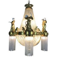 French Art Nouveau Ormolu Crystal Figural Porcelain Eight-Light Chandelier