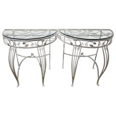 Salterini Style Wrought Iron Console Tables