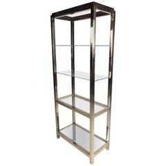 Mid-Century Modern Polished Brass Etagere