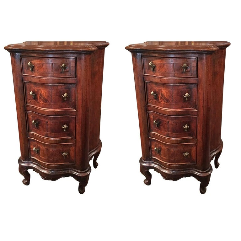 Pair of English Burl Walnut Nightstands or Side Tables, 19th Century