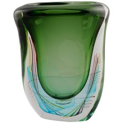 Large Green Fratelli Toso Murano Vase