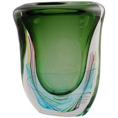Large Green Fratelli Toso Murano Vase