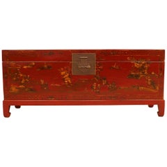 Fine Red Lacquer Trunk with Gilt Motif