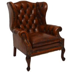 Large Antique Leather Wingback Armchair