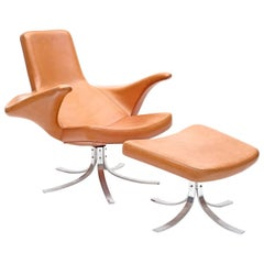 """""""Seagull"""" Chair and Ottoman by Gosta Berg and Stenerik Eriksson for Fritz Hansen"""