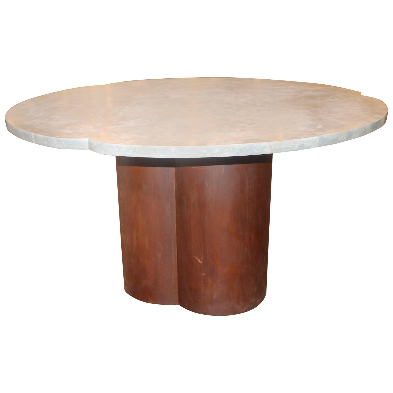 Clover Shaped Italian Dining Table Base with Honed Lagos Azul
