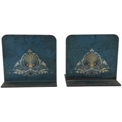 1950s Italian Tole Hand-Painted Blue Bookends with Crest Motif, Pair