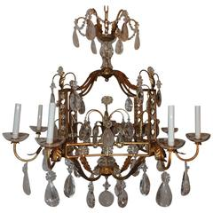 French Louis XVI Baguès Rock Crystal Eight-Light Square Mid-Century Chandelier