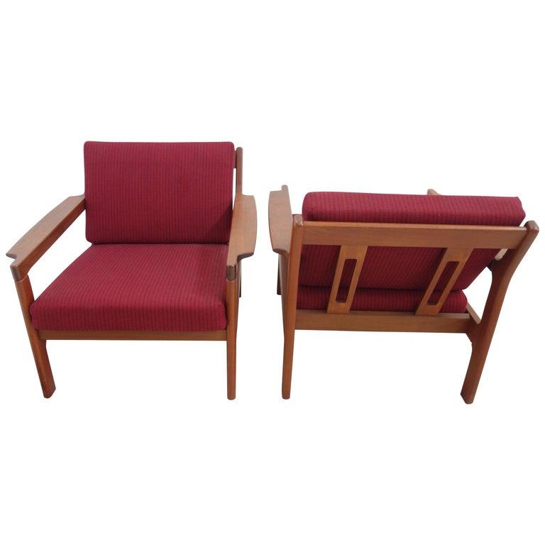 Pair of Danish Teak Easy Chairs in Arne Wahl Iversen Style, Reupholstered 1
