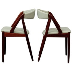 1960s Six Kai Kristiansen Model 31 Dining Chairs in Rosewood - Mint Green Fabric