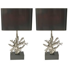 Pair of Maison Charles Coral-Form Table Lamps in Silver and Gunmetal Coloration