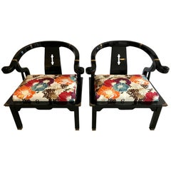 Pair of Chinese Black Lacquer Horseshoe Back Club Chairs