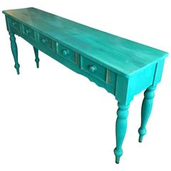 Shabby Chic Beach Cottage Farmhouse Teal Console, Pine Painted, Five Drawers