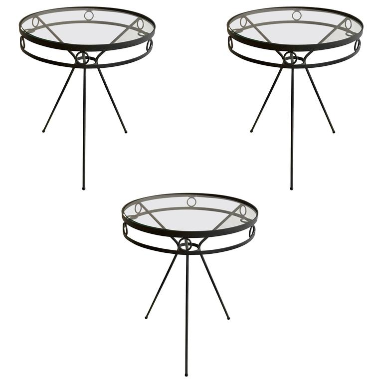 Mid Century Iron and Glass Garden Café Tables or Side Tables, 1950s For Sale