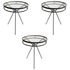 Mid Century Iron and Glass Garden Café Tables, 1950s, Three Available