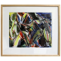 Framed, Abstract Watercolor on Paper by Artist Jacques Lamy