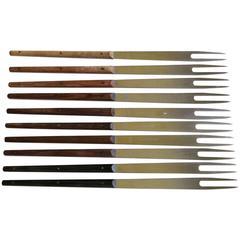 Set of Ten Vintage Modern Steel Fondue Forks with Wood Handles by Carl Auböck
