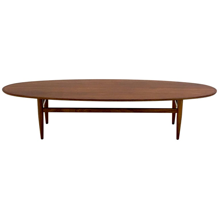 Vintage Surfboard Cocktail Table By Henredon In Walnut At
