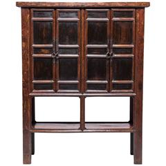 Four Door Chinese Provincial Cabinet with Iron Fittings