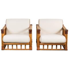 Pair of Leather and Rattan Lounge Chairs