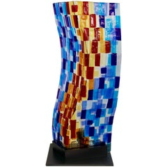 Contemporary Italian Aqua Blue Red Yellow Murano Glass Mosaic Sculpture Lamp