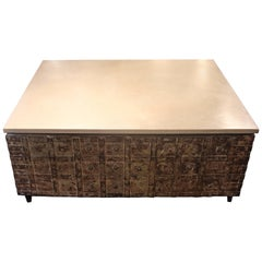 Vintage Anglo Colonial Storage Box with Limestone Top as Coffee Table